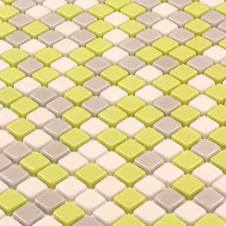 Mosaïque mur mix vert, gris et beige en verre Sun City brillant 30x30 cm