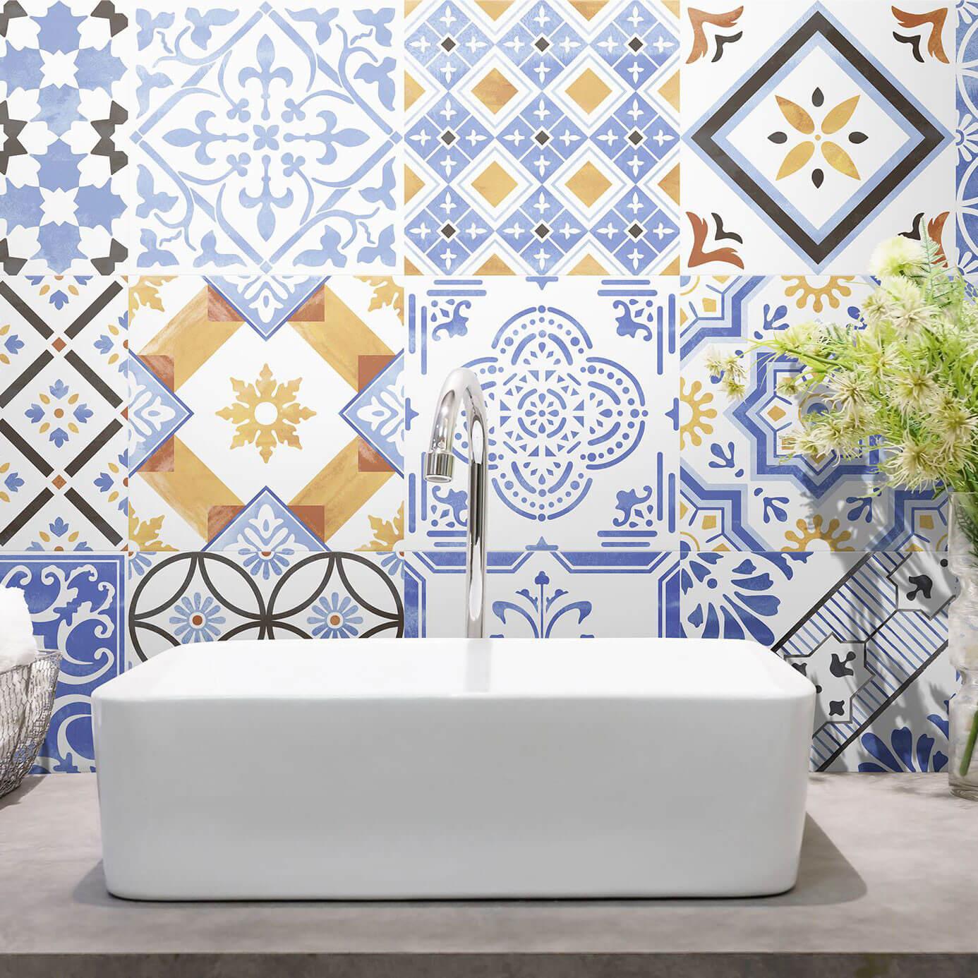 Carrelage sol et mur aspect carreau ciment patchwork Sevilla Mix 25x25 cm