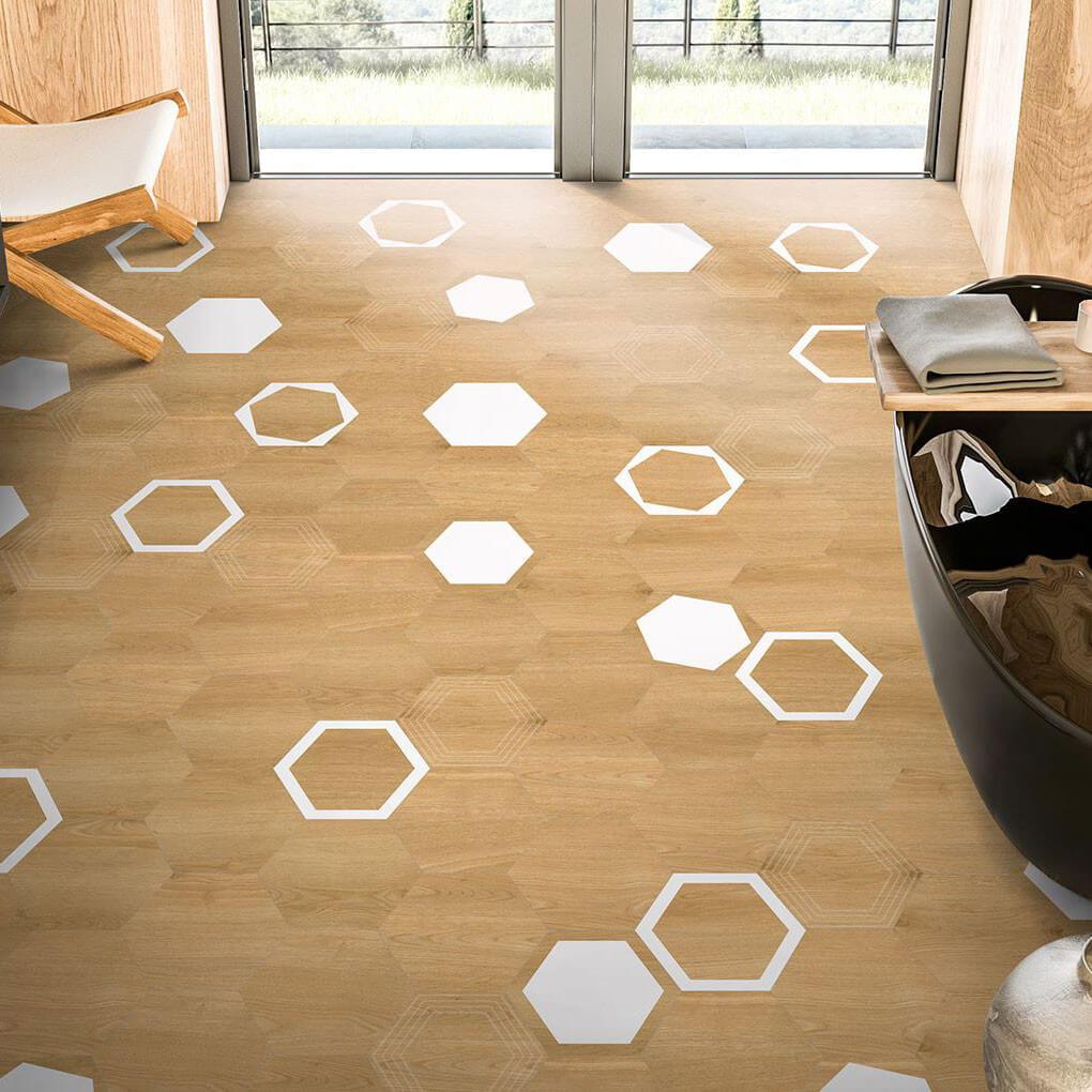 Carrelage sol et mur hexagonal aspect parquet Verona Miel 23x27 cm