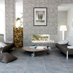 Carrelage sol et mur aspect pierre Safari Graphite 60x60 cm antidérapant