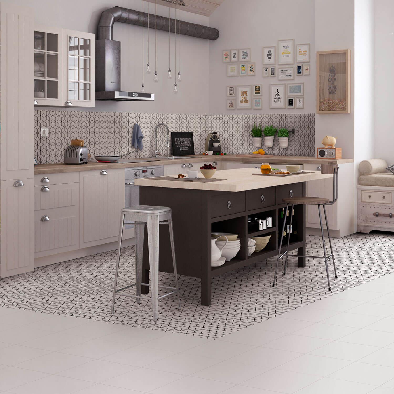 Carrelage sol et mur aspect carreau ciment noir et blanc Alhambra Negro 25x25 cm