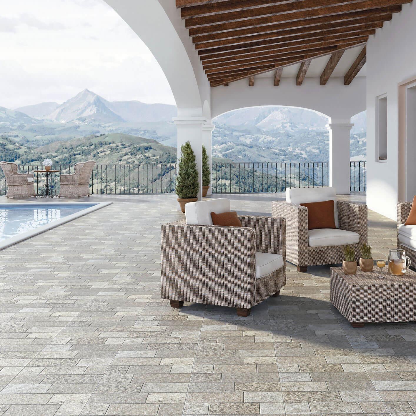 Carrelage sol exterieur aspect pavé Tarraco Gris 45x45 cm antidérapant