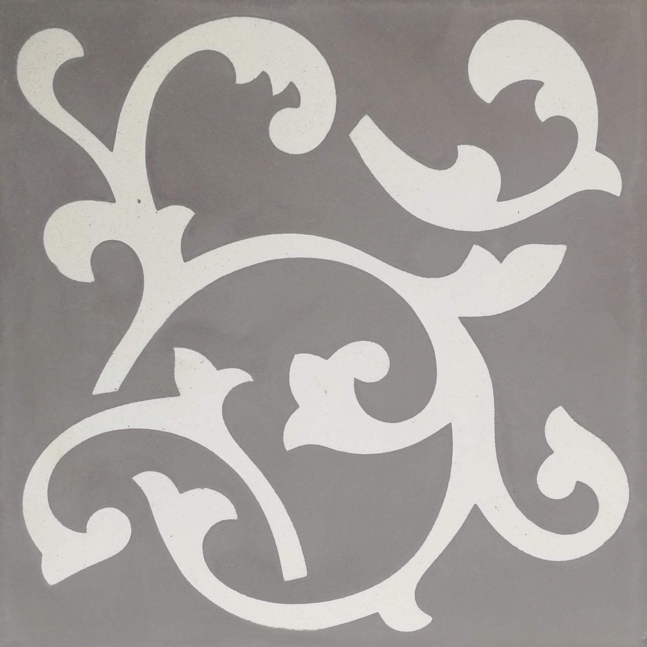 Carreau ciment décor gris motifs Grey Ronce 20x20 cm (FL018C)