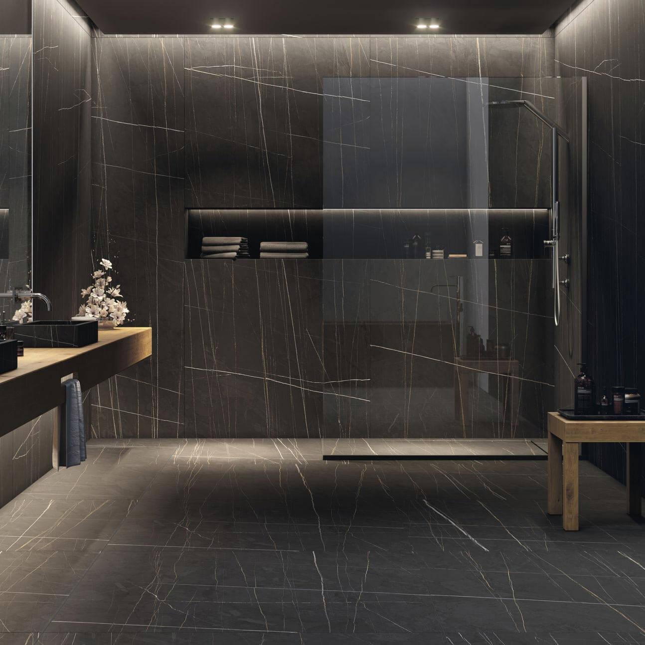 Carrelage sol et mur aspect marbre noir Sahara mat 120x120 cm rectifié