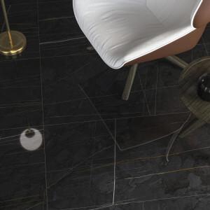 Carrelage sol et mur aspect marbre noir Sahara mat 60x120 cm rectifié