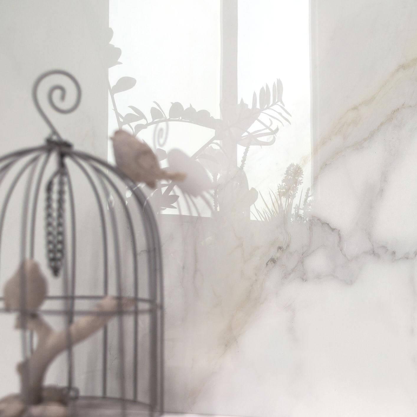 Carrelage sol et mur poli aspect marbre blanc Diamond Gold 60x120 cm rectifié