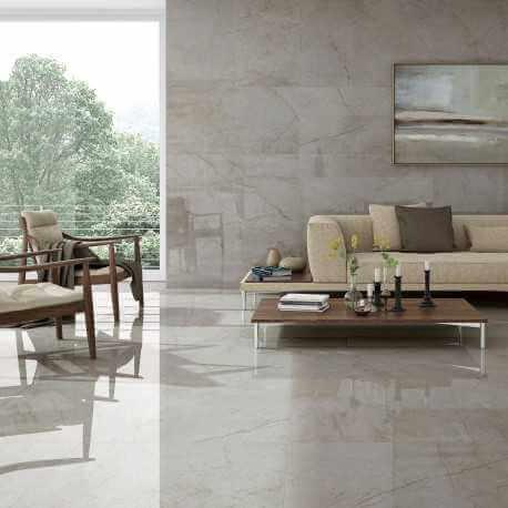 Carrelage sol et mur poli aspect marbre gris Crystal Pearl 60x60 cm