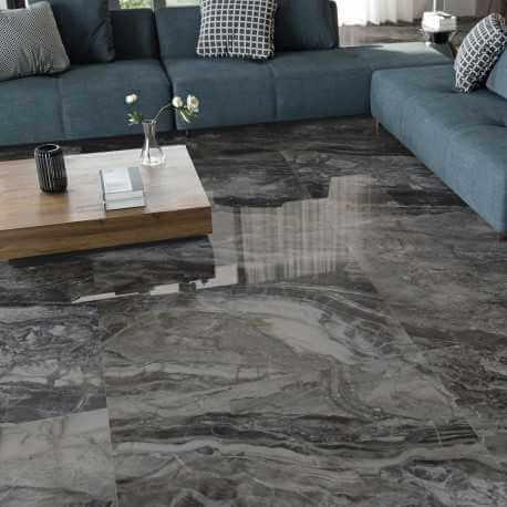 Carrelage sol et mur poli aspect marbre Luxury Dark 60x120 cm rectifié