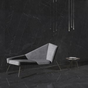 Carrelage sol et mur poli aspect marbre noir Marquina 120x120 cm rectifié