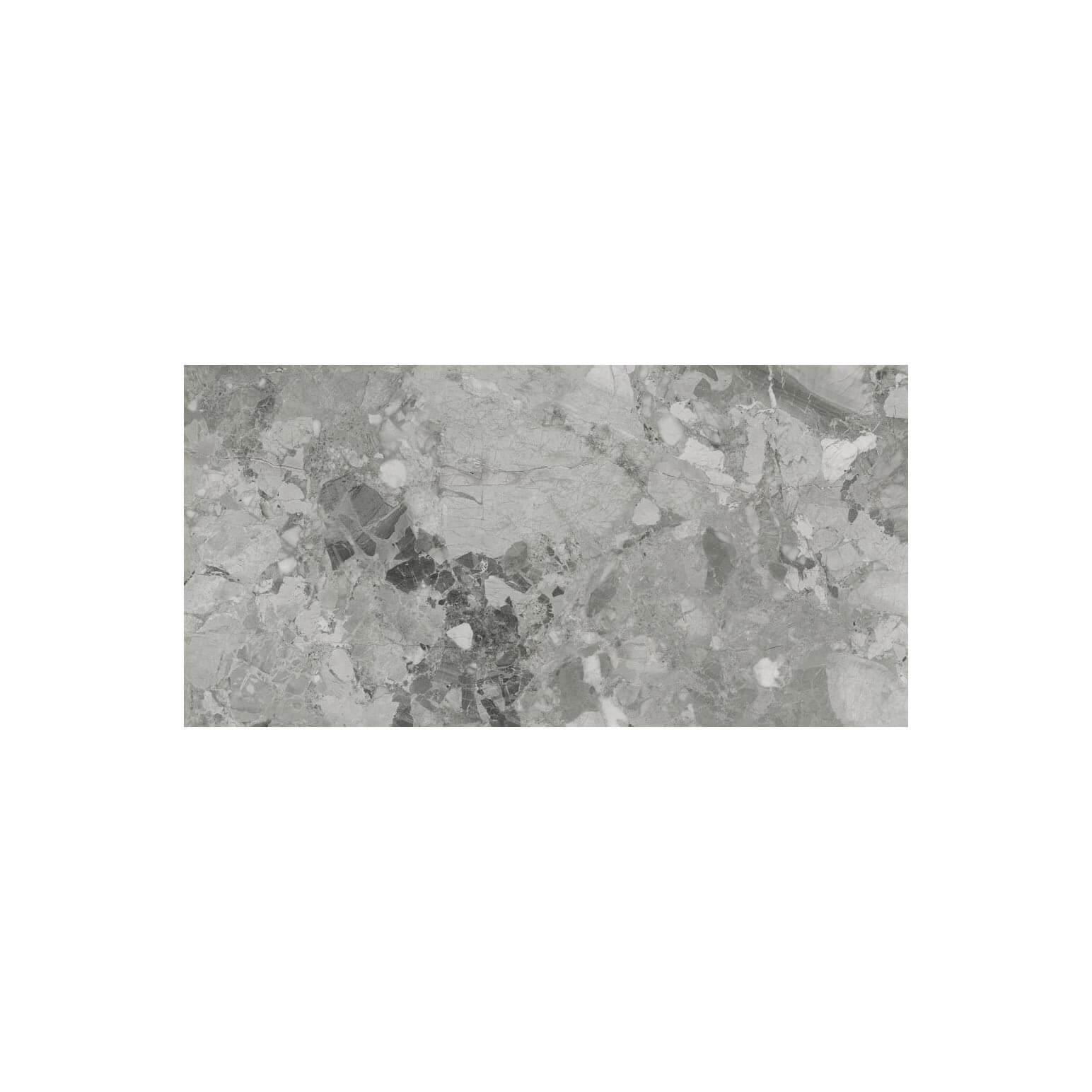 Carrelage sol et mur poli aspect marbre Realstone Grey 60x120 cm rectifié