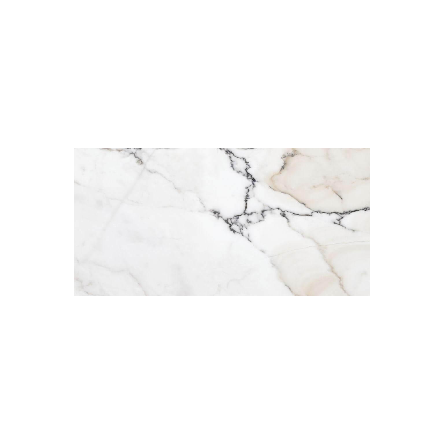 Carrelage sol et mur poli aspect marbre blanc Paonazzo 60x120 cm rectifié