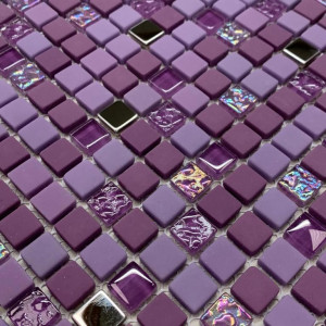 Mosaïque mur mix en verre rouge rose Harlem mat 30x30 cm
