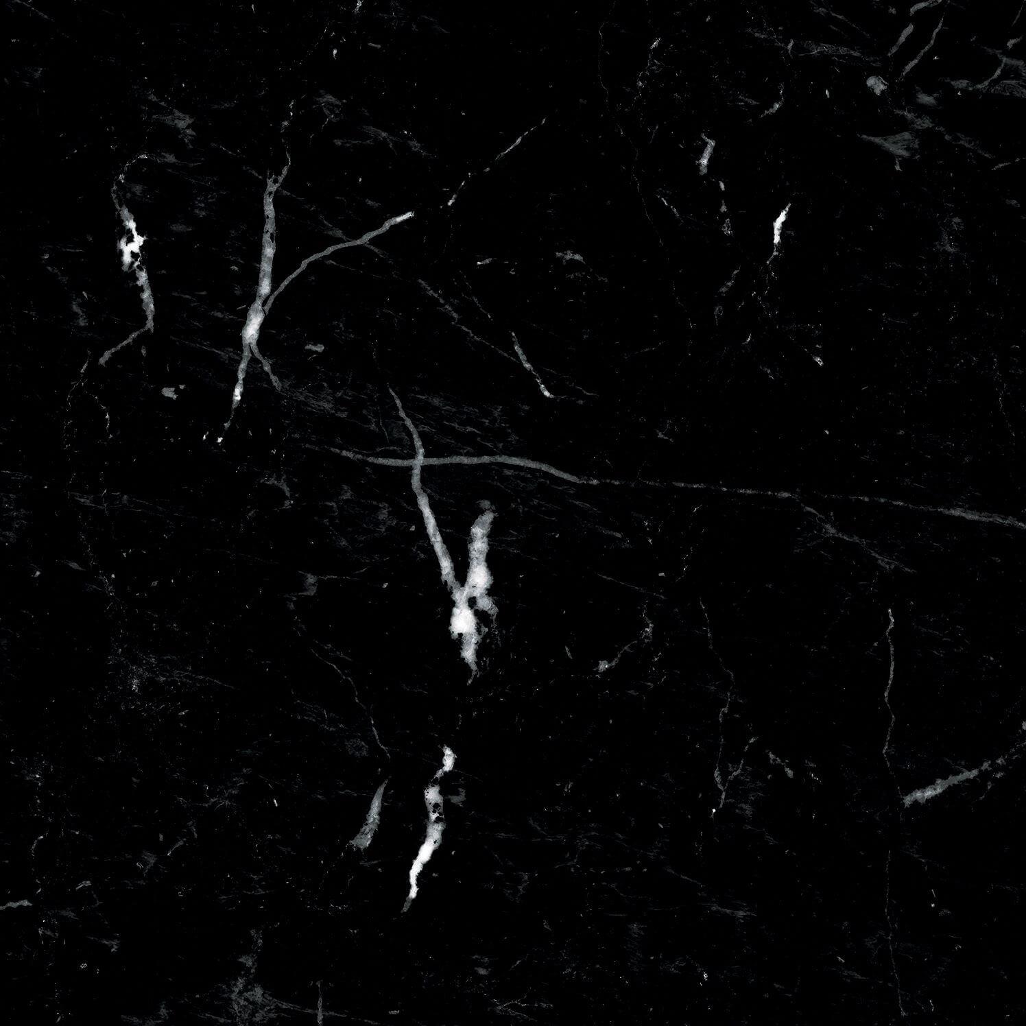 Carrelage sol et mur aspect marbre noir mat Terni Negro 25x25 cm