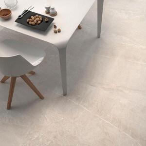 Carrelage sol et mur poli aspect marbre beige Piceno Crema 60x60 cm rectifié
