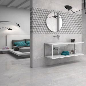 Carrelage sol et mur poli aspect marbre gris Piceno Gris 60x60 cm rectifié