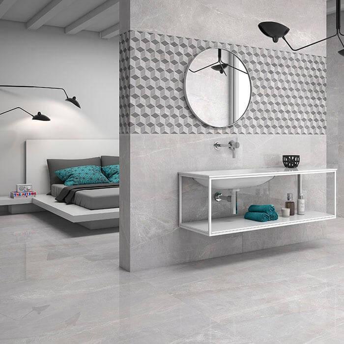 Carrelage sol et mur poli aspect marbre gris Piceno Gris 60x120 cm rectifié