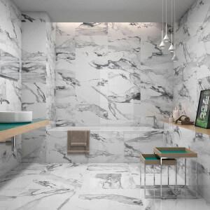 Carrelage sol et mur poli aspect marbre blanc Crash Blanco 60x120 cm rectifié