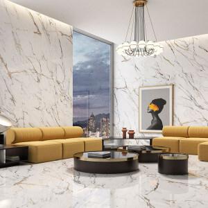 Carrelage sol et mur poli aspect marbre blanc Oikos Gold 60x120 cm rectifié