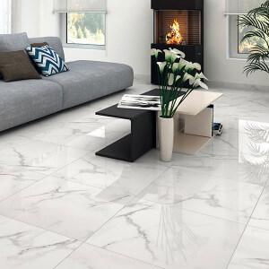 Carrelage sol et mur aspect marbre blanc Albufera 60x60 cm rectifié