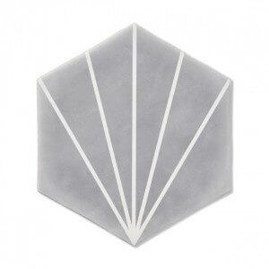 Carrelage hexagonal gris Palm Striped Grey 15x17,5 cm