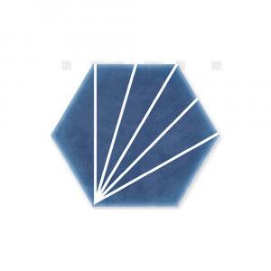 Carrelage hexagonal bleu Palm Striped Blue Marine 15x17,5 cm