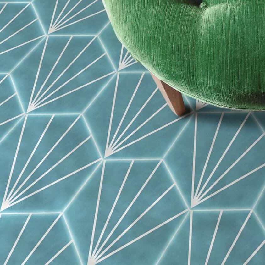Carrelage hexagonal bleu Palm Striped Turquoise 15x17,5 cm
