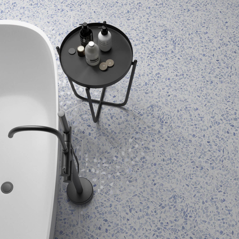 Carrelage aspect Terrazzo Riazza Hex Blue Mat 23,2x26,7 cm