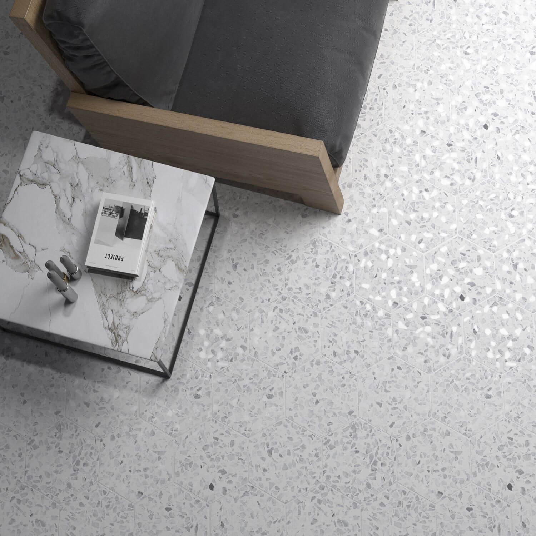 Carrelage aspect Terrazzo Riazza Hex Gray Mat 23,2x26,7 cm