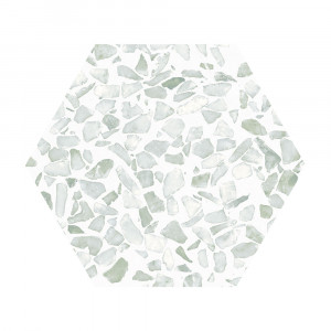 Carrelage aspect Terrazzo Riazza Hex Green Mat 23,2x26,7 cm