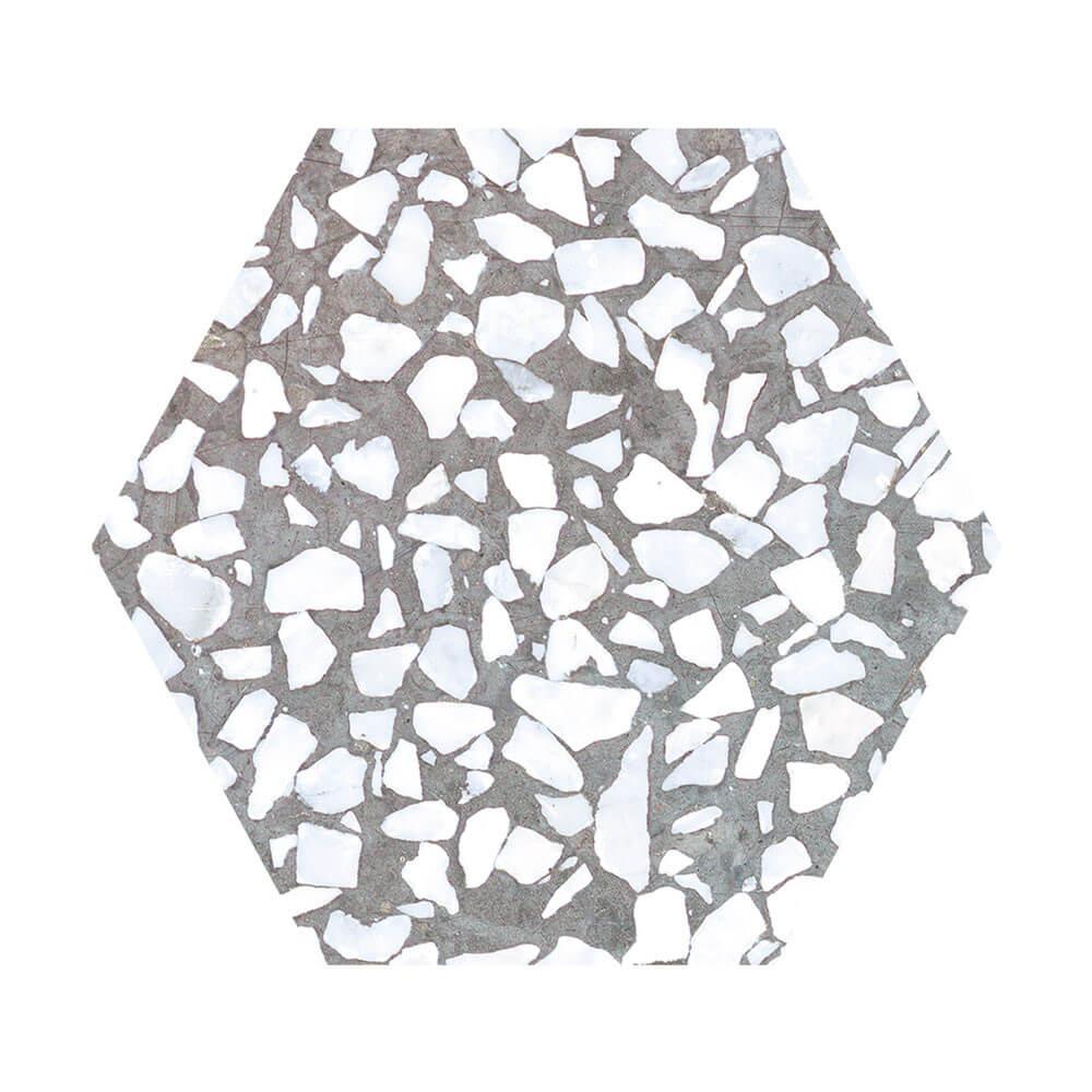 Carrelage aspect Terrazzo Riazza Hex Grigio Mat 23,2x26,7 cm