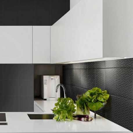 Carrelage aspect carreau ciment Argent Vitral Negro 25x25 cm