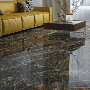 Carrelage poli aspect marbre Black golden 60x120 cm