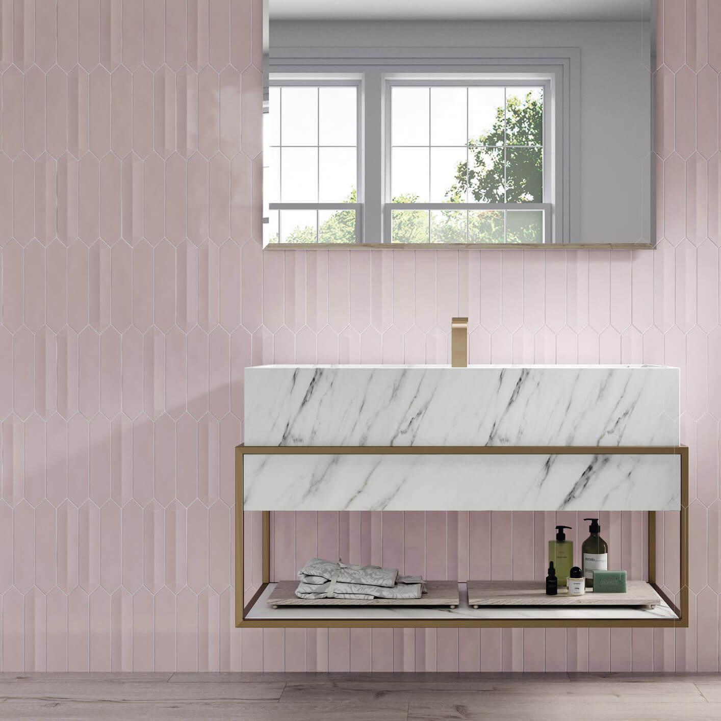 Carrelage aspect zellige Dimsey pink outside 6,5x33,2 cm