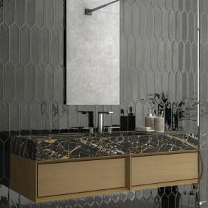 Carrelage aspect zellige Monochrome picket black 7,5x30 cm