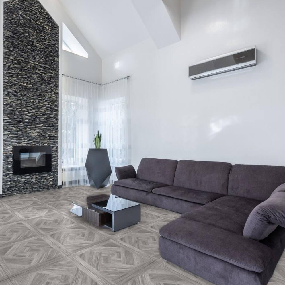 Carrelage sol et mur aspect parquet naturel Bois Grey 60x60 cm