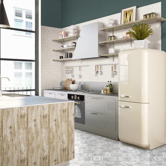 Mosaïque mix sol et mur Hexagonale blanc Lemon Sorbet 30x30 cm