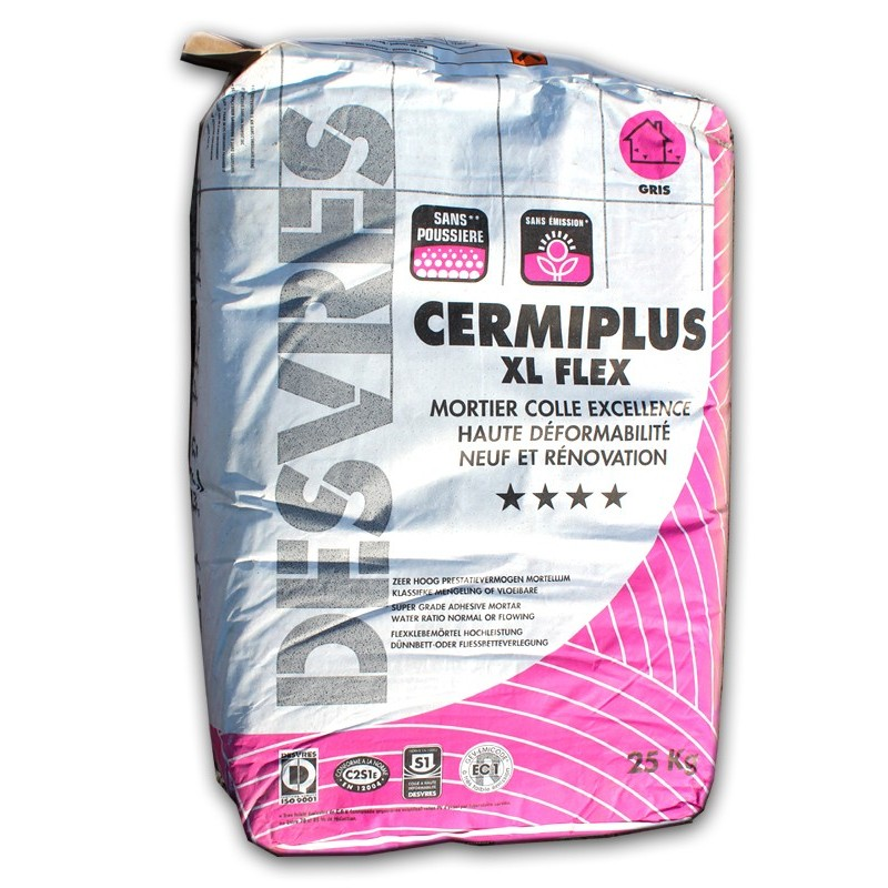 Colle carrelage cermiplus xl flex gris for Colle carrelage flexible