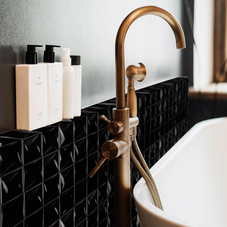 Mosaïque en porcelaine noir Graphite 30x30 cm