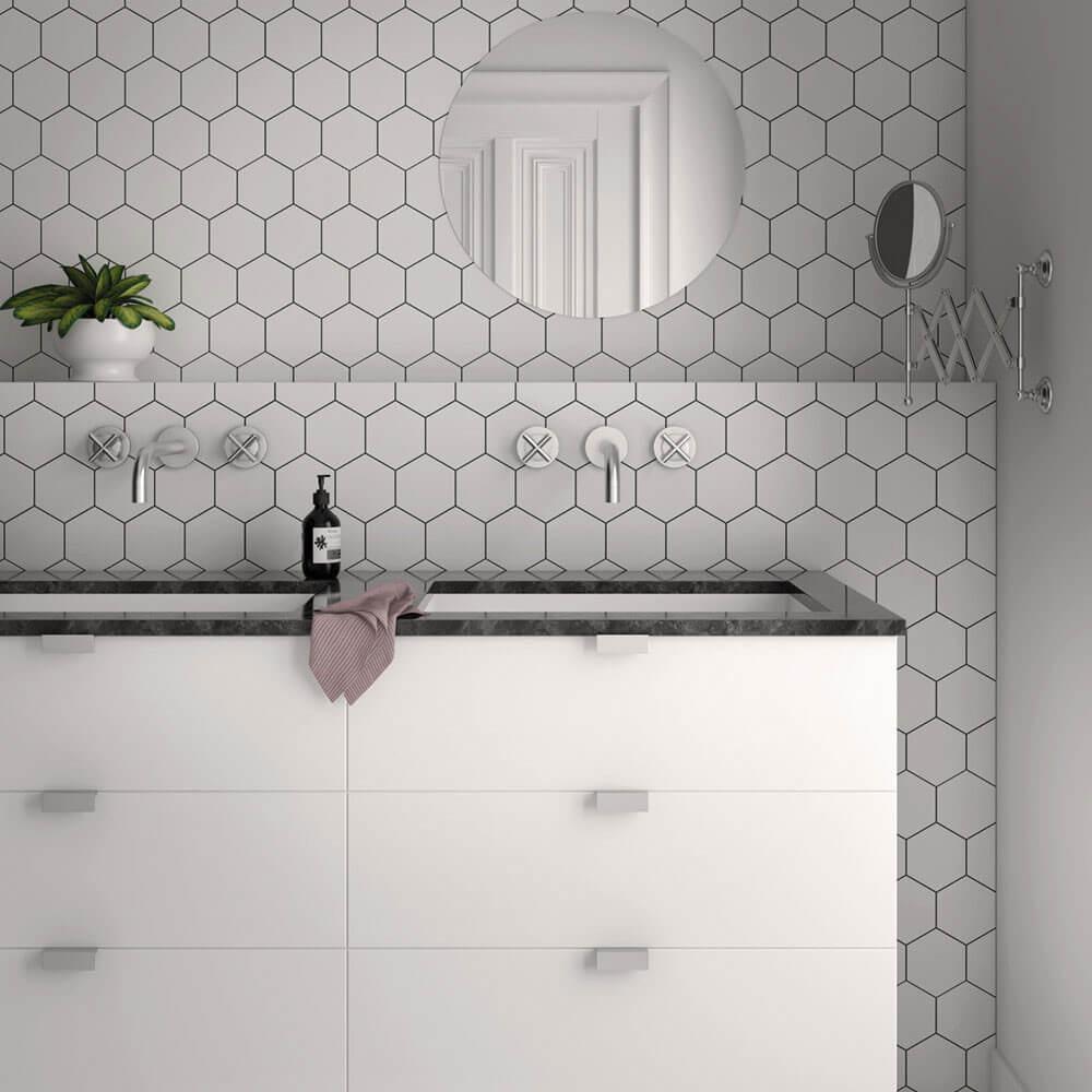 Carrelage hexagonal Kromatica White mat 11,6 x 10,1 cm
