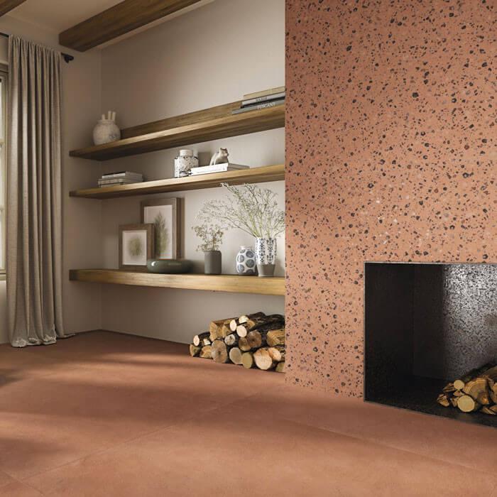 Carrelage aspect terrazzo Coccio Coral 60x60 cm