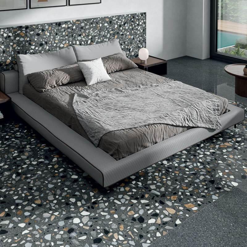 Carrelage aspect terrazzo Crisp Graphite mat 60x120 cm