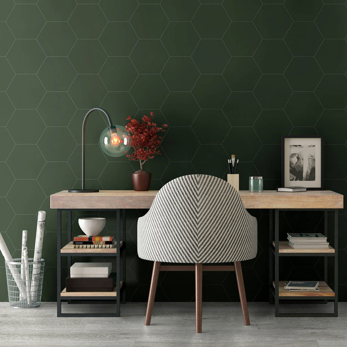 Carrelage hexagonal Element Vert mat 23x27 cm