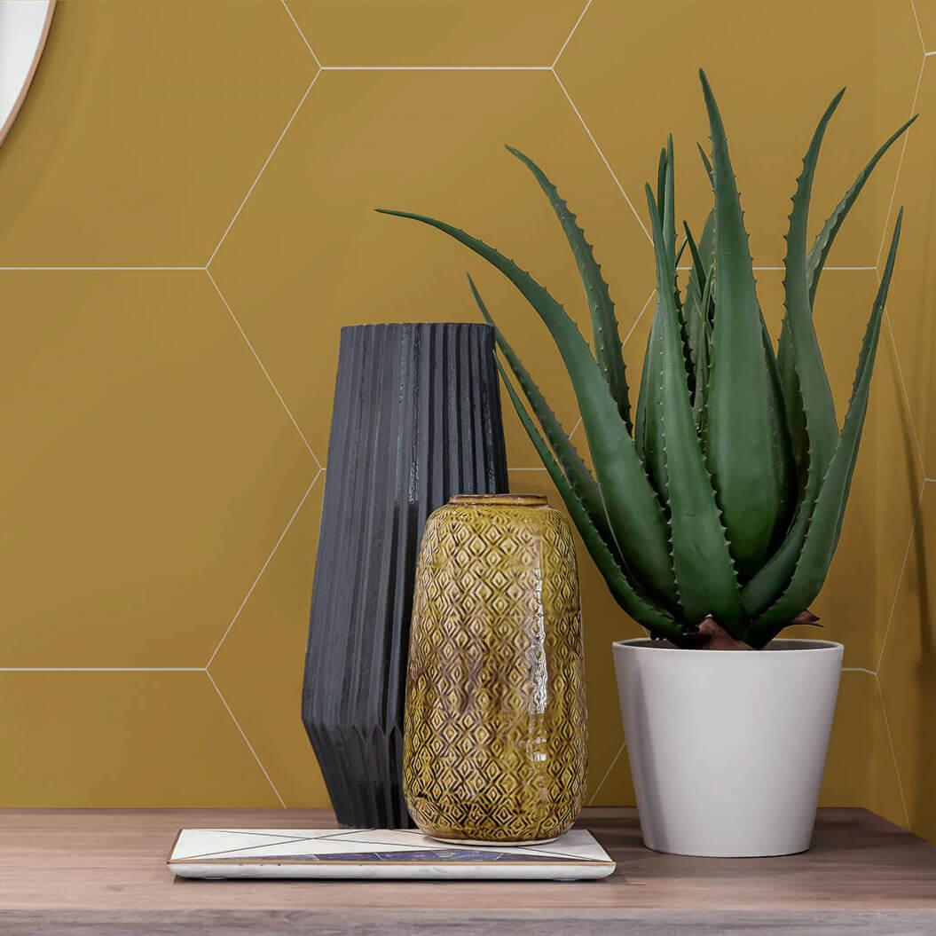 Carrelage hexagonal Element Ocre 23x27 cm