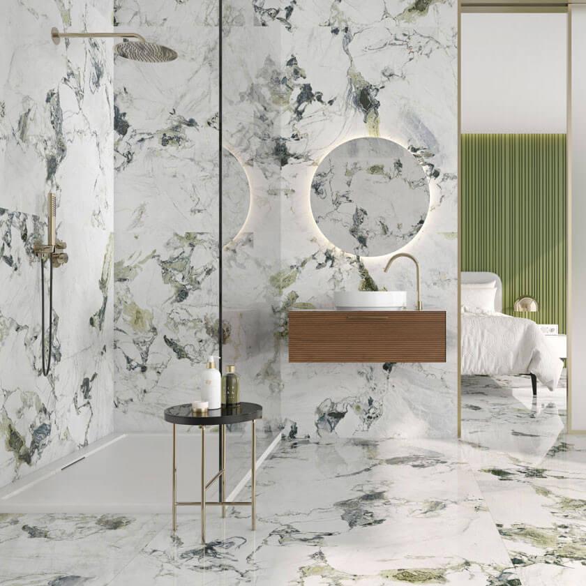 Carrelage aspect marbre Oyama green 60x120 cm