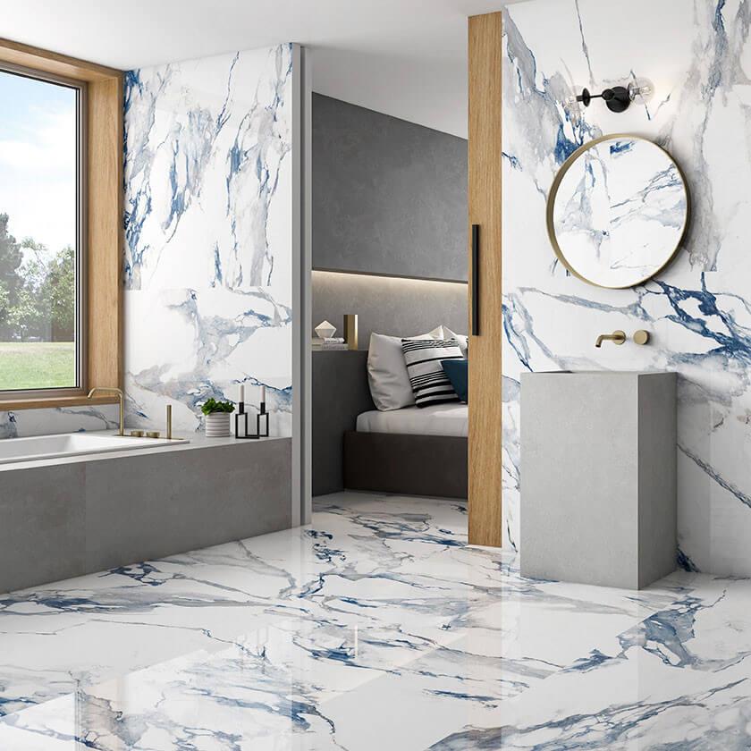 Carrelage poli aspect marbre blanc Crash Blue 60x120 cm