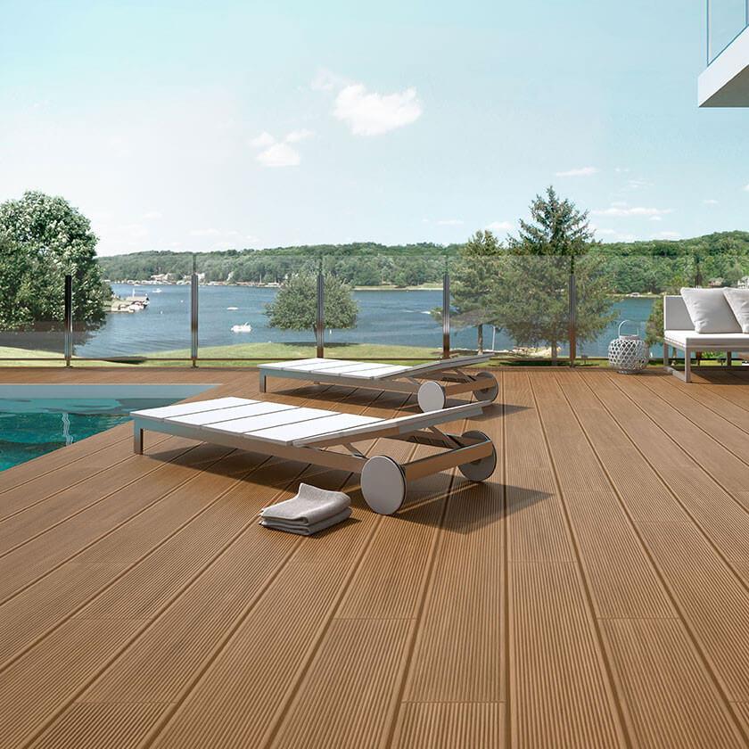 Carrelage aspect deck Olea Brown 23x120 cm