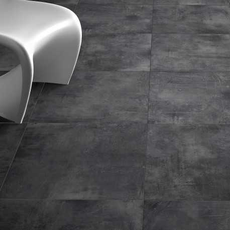 Carrelage sol aspect b ton nice anthracite 80x80 cm for Peinture aspect beton