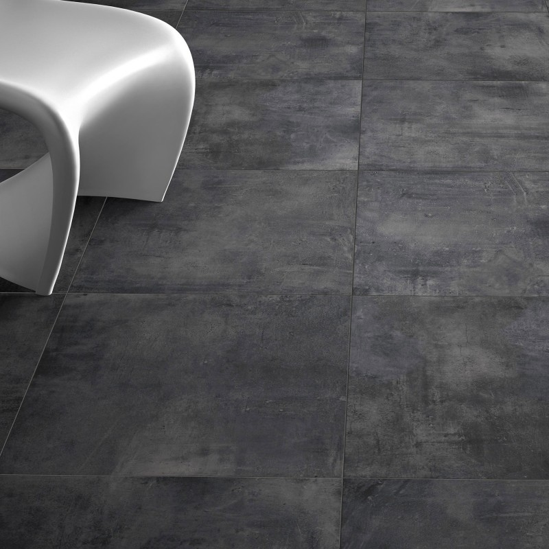 Carrelage sol aspect b ton nice anthracite 80x80 cm carrelage gris pas cher for Carrelage joint noir